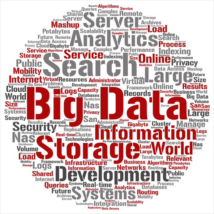 Vector concept or conceptual big data large size storage systems word cloud isolated on background
