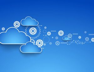 Cogwheel cloud theme. Vector illustration